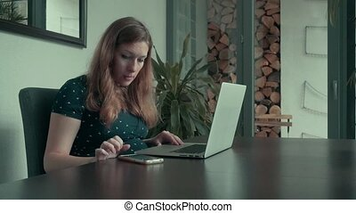 Woman Doing Online Shopping at Home - Woman doing online...