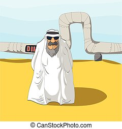 Arab Sheikh and an Oil Pipeline - Cartoon illustration of an...