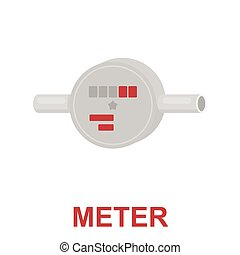 Water meter icon cartoon style. One icon of a large plumbing...