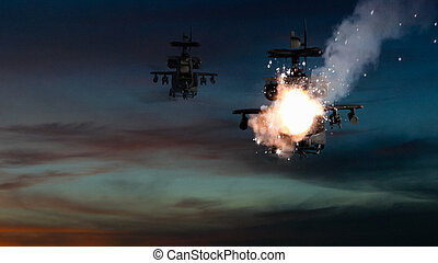 Military gunships being hit by missile and exploding -...