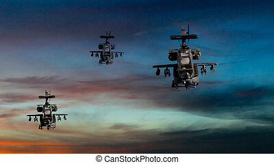 Military gunships flying with dramatic sky - Military...