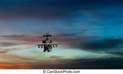 Military gunship flying with dramatic sky - Military gunship...