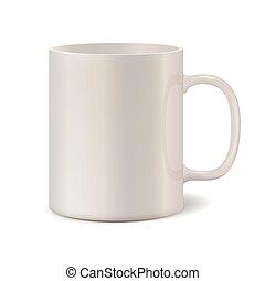 Light pearl ceramic mug for printing corporate logo. 3D...