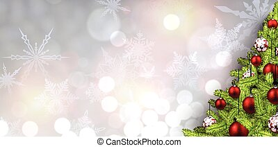 New Year banner with Christmas tree. - New Year banner with...