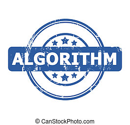 Algorithm stamp - Algorithm blue stamp with stars isolated...