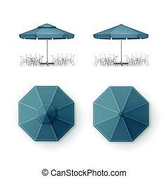 Vector Set of Blue Blank Patio Outdoor Market Beach Cafe Bar...