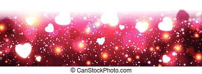Pink luminous banner with hearts - Valentines pink luminous...