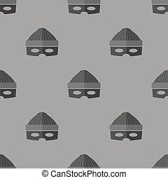 Thief Icon Seamless Pattern on Grey Background