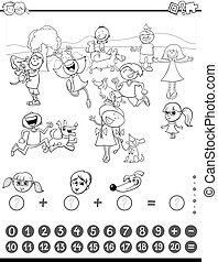 mathematic task coloring book - Black and White Cartoon...