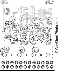 maths game coloring book - Black and White Cartoon...
