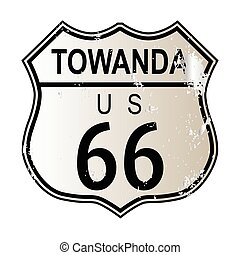 Towanda Route 66 traffic sign over a white background and...