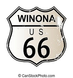 Winona Route 66 traffic sign over a white background and the...