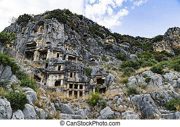 Famous rock-cut Lycian tombs in Myra (Demre), Turkey