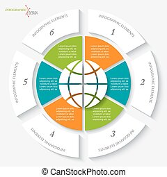 Infographic template with globe and six segments. Vector illustration can be used for web design, workflow or graphic layout, diagram, education