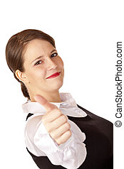 Casual young attractive businesswoman shows thumb up