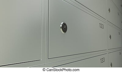 Multiple safe deposit boxes in a bank and inserted key with...