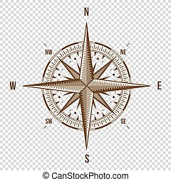 Vector Compass High Quality Illustration Old Style West,...