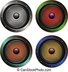Audio Speaker Icon - Illustration of sound loud speaker in...