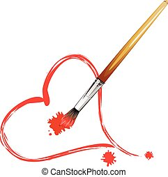 Paintbrush and Red Heart
