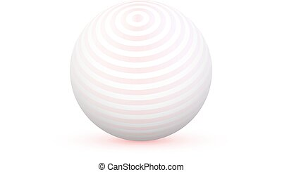 3d Sphere with Texture Ball isolated on white background...