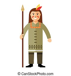 Vector Indian with a spear. Flat style colorful Cartoon...
