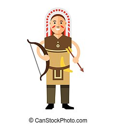Vector Indian with bow and arrow Flat style colorful Cartoon...