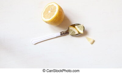 Healthy eating concept, lemon on the table - Healthy eating...