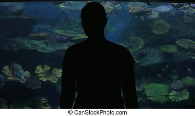 Young woman in Bangkok, Thailand at the oceanarium of Siam...