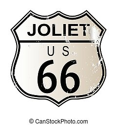 Joliet Route 66 traffic sign over a white background and the...