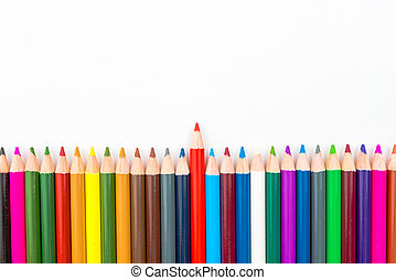Colouring pencils isolated on white background,education...