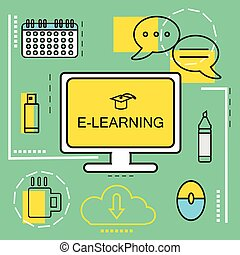 E-learning banner concept. Online Education. Thin Line...