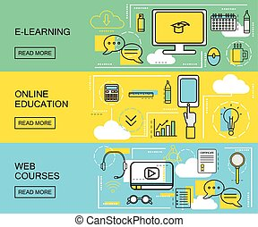 E-learning, Online Education and Web Courses horizontal...