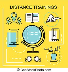Distance Trainings banner concept Online Education Thin Line...