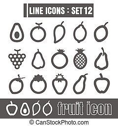 icon fruit line black Modern Style vector on white background