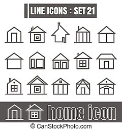 icon home line black Modern Style vector on white background