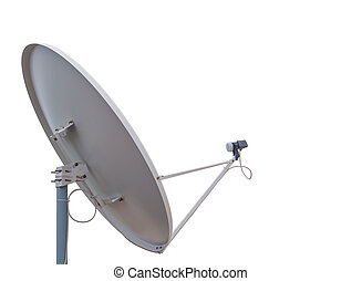 parabolic communication antenna isolated on white background