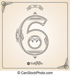 Number 6 - Calligraphic Fotn with Border, Frame Elements and...