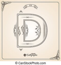 Letter D - Calligraphic Fotn with Border, Frame Elements and...