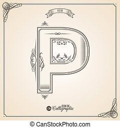 Letter P - Calligraphic Fotn with Border, Frame Elements and...