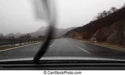 Driving in rian - Driving in cald late autumn rain