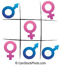 Gender Fight Winning Woman Tic Tac - Tic tac toe game with...