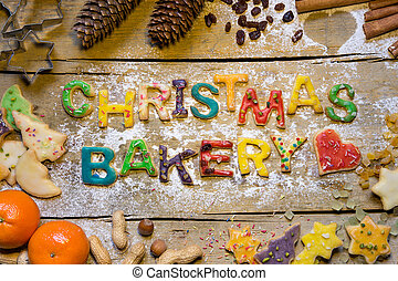 Christmas decoration and biscuit letters on wood, christmas...