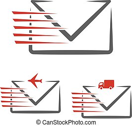 Vector speed symbol of delivery message e-mail. Fast air...