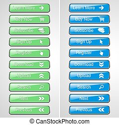Vector green and blue buttons for website or app Button -...