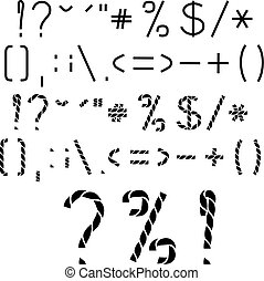 Vector twine, rope font alphabet, Other marks-question,...