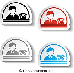 Vector button of contact - semicircle design, man, official...