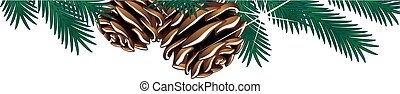 Vector christmas template with twigs and cones on the white...