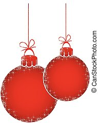 Vector Merry Christmas, flashy red balls for advertising text on the white background