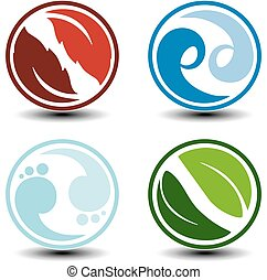 Vector natural symbols - fire, air, water, earth - nature circular icons with flame, bubble air, wave water and leaf. Elements of ecology sources, alternative energy.