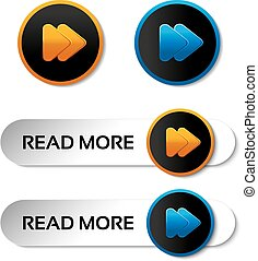 Vector here, read more, next, go, play buttons with arrow - labels, stiskers on the white background